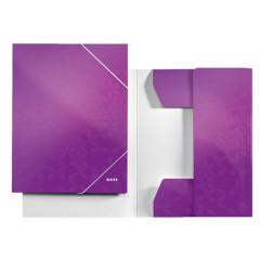 Dossiermap Leitz WOW gelamineerd karton A4 3-kleppen paars metallic (3982062)