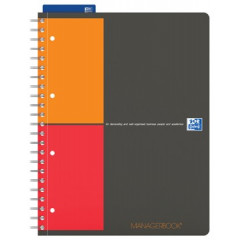 Spiraalboek Oxford International Managerbook PP A4+ gelijnd en geruit 6mm 160blz