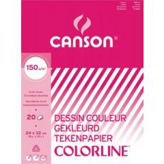 Tekenpapier blok Canson A3 150gr assorti 20 vel
