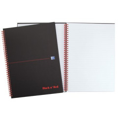 Spiraalboek Oxford Black n' Red hardcover A4 gelijnd 280blz