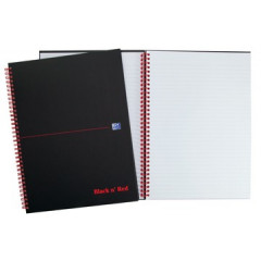 Spiraalboek Oxford Black n' Red hardcover A5 gelijnd 280blz