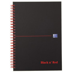 Spiraalboek Oxford Black n' Red hardcover A5 geruit 280blz