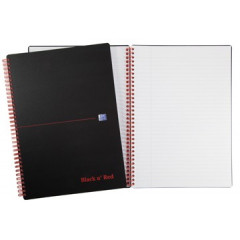 Spiraalboek Oxford Black n' Red PP A4 gelijnd 280blz