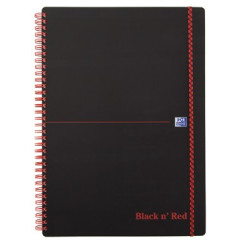 Spiraalboek Oxford Black n' Red PP A4 geruit 280blz