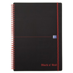 Spiraalboek Oxford Black n' Red PP A5 geruit 280blz