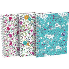 Spiraalschrift Oxford Floral softcover A6 geruit 100blz assorti