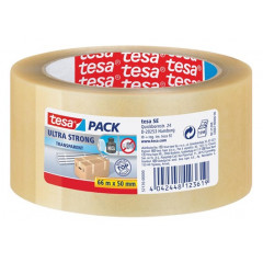 Verpakkingstape Tesa pack PVC 4124 Ultra Strong 50mm x 66m transparant (412450T)