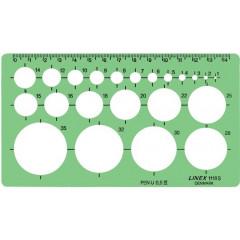 Cirkelsjabloon Linex 1-35mm met met 22 cirkels en uitlijnmarkering