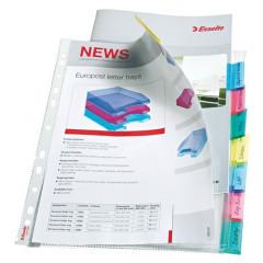 Showtas Esselte Premium PP A4 130µ 11-gaats glashelder met gekleurde tabs (8)(4141508)