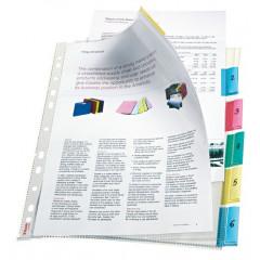 Showtas Esselte Premium PP A4 130µ 11-gaats glashelder met gekleurde tabs (6)