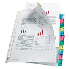 Showtas Esselte Premium PP A4 130µ 11-gaats glashelder met gekleurde tabs (12)