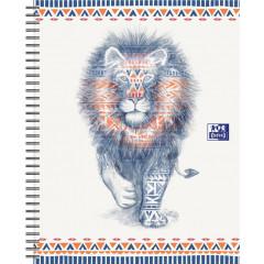 Spiraalschrift Oxford Boho Chic hardcover A4 maxi gelijnd 120blz leeuw