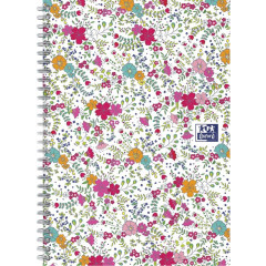 Spiraalschrift Oxford Floral hardcover B5 90g geruit 120blz wit