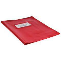 Schriftomslag 16,5x21cm 350µ met venster en etiket rood