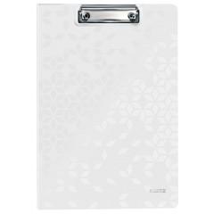 Klemplaat Leitz WOW met overslag polyfoam A4 wit metallic (4199001)