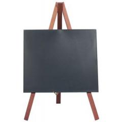Securit mini tafelkrijtbord met driepoot in mahonie, ft 24x15 cm