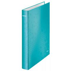 Ringmap Leitz WOW karton A4 maxi 4 D-ringen 25mm rug 4cm ijsblauw metallic (4240051)