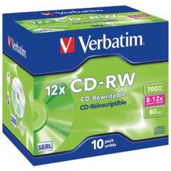 CD-RW Verbatim 700MB 80min 8-12x jewel case (10)