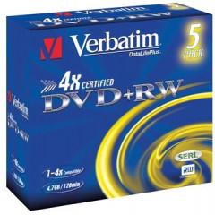 DVD+RW Verbatim 4,7GB 4X jewel case (5)