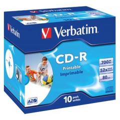 CD-R Verbatim 700MB 52X printable jewel case (10)