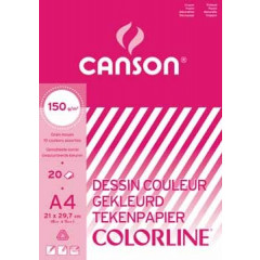 Tekenpapier blok Canson A4 150gr assorti 20 vel
