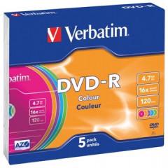 DVD-R Verbatim 4,7GB 16X slim case colour (5)