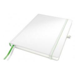 Notitieboek Leitz Complete harde kaft A4 gelijnd 160blz lederlook wit