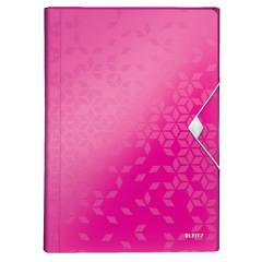 Voorordner Leitz WOW PP A4 6-vaks roze metallic
