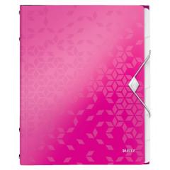 Sorteermap Leitz WOW PP A4 6-vaks roze metallic