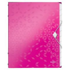 Sorteermap Leitz WOW PP A4 12-vaks roze metallic