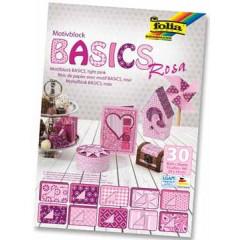 Motiefpapier Folia basics 24x34cm roze (30)