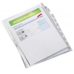 Showtas Leitz met tabs PP A4 130µ 4-gaats 10 tabs glashelder transparant