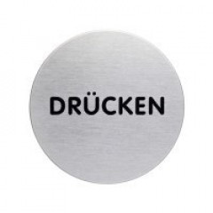 "Pictogram Durable ""PUSH"" Ø65mm zilver"