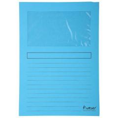L-map Exacompta Forever karton A4 120g met venster lichtblauw (100)