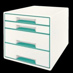 Ladenblok Leitz WOW 4 laden wit/ijsblauw metallic (5213251)