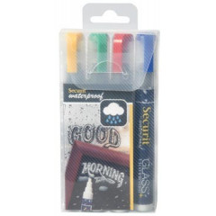 Krijtmarker Securit Waterproof medium ronde punt 2-6mm assorti (4)