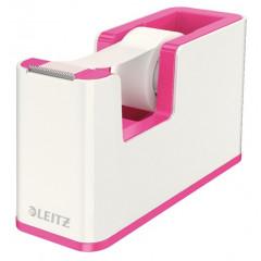 Plakbandhouder Leitz WOW Duo PS wit/roze metallic inclusief rol plakband (5364123)
