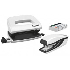 Set mini perforator+nietmachine Leitz Nexxt wit-metallic blister