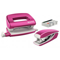 Set Leitz New NeXXt WOW Mini nietmachine en perforator 10vel roze metallic