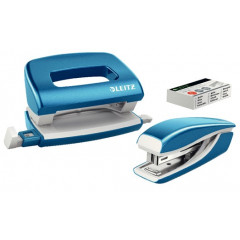 Set Leitz New NeXXt WOW Mini nietmachine en perforator 10vel blauw metallic