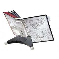 Zichtpanelensysteem Durable Sherpa 10 tafelmodel inclusief 10 zichtpanelen zwart/rood (D563200)