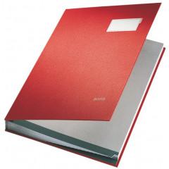 Handtekenmap Leitz PP grijze vloei 20-vaks rood