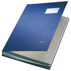 Handtekenmap Leitz PP grijze vloei 20-vaks blauw