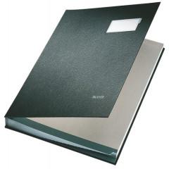 Handtekenmap Leitz PP grijze vloei 20-vaks zwart