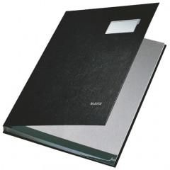 Handtekenmap Leitz PP grijze vloei 10-vaks zwart