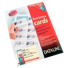 Visitekaarten Esselte Dataline karton 195g 10/blad 86x54mm voor inkjet en laser wit (25)