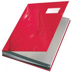 Handtekenmap Leitz design grijze vloei 18-vaks rood