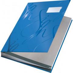 Handtekenmap Leitz design grijze vloei 18-vaks blauw