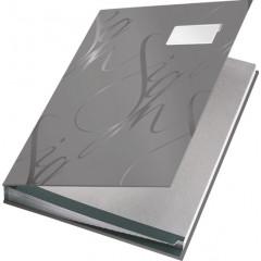 Handtekenmap Leitz design grijze vloei 18-vaks grijs
