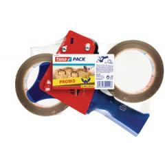 Afroller Tesa voor verpakkingstape blauw/rood incl. 2 rollen havana
